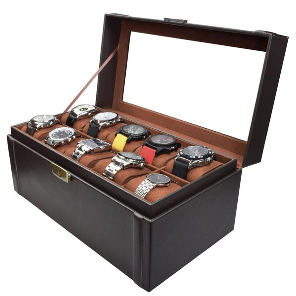 Deluxe Espresso Brown Watch Display Case with Lock-Nile Corp