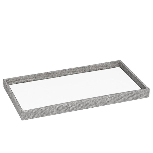 Gray Burlap Covered Wooden Jewelry Tray | Nile Corp