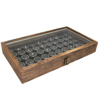 50 Black Gem Jars in Temper Glass Top Antique Color Wood Display Case | Nile Corp