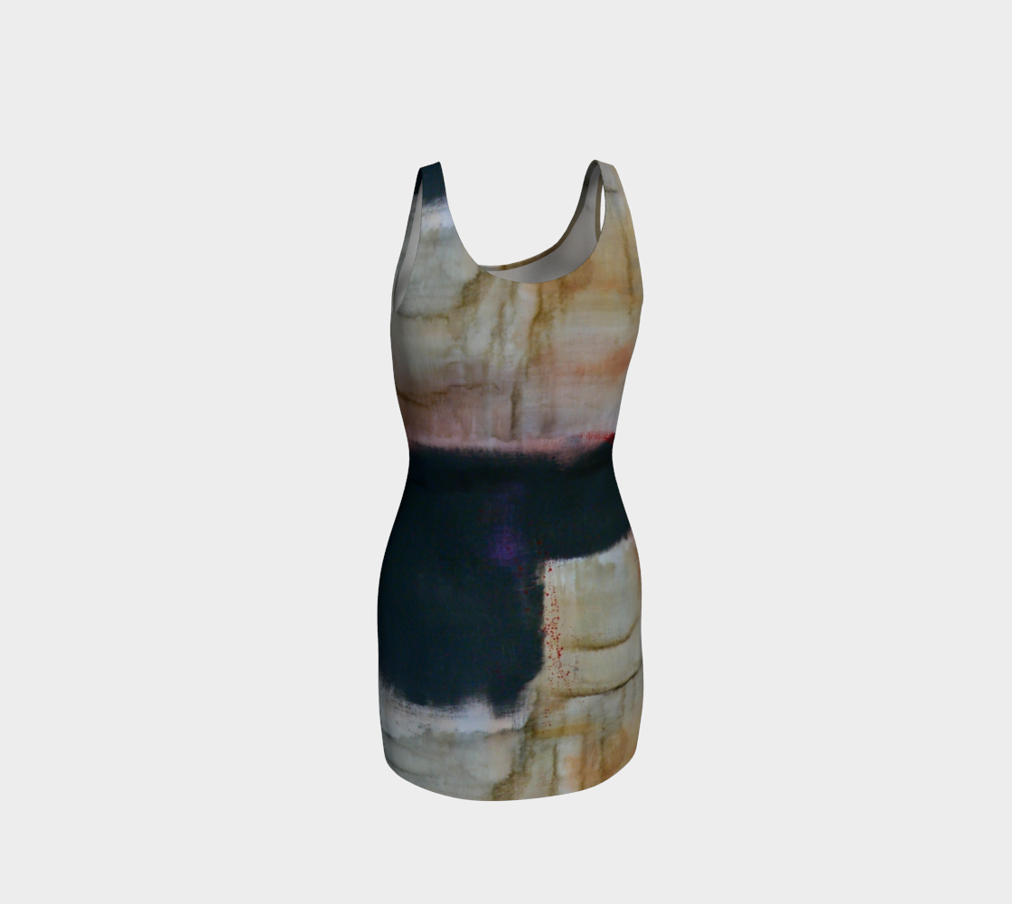 Fitted Bodycon Dress - Earth Tones Patterns