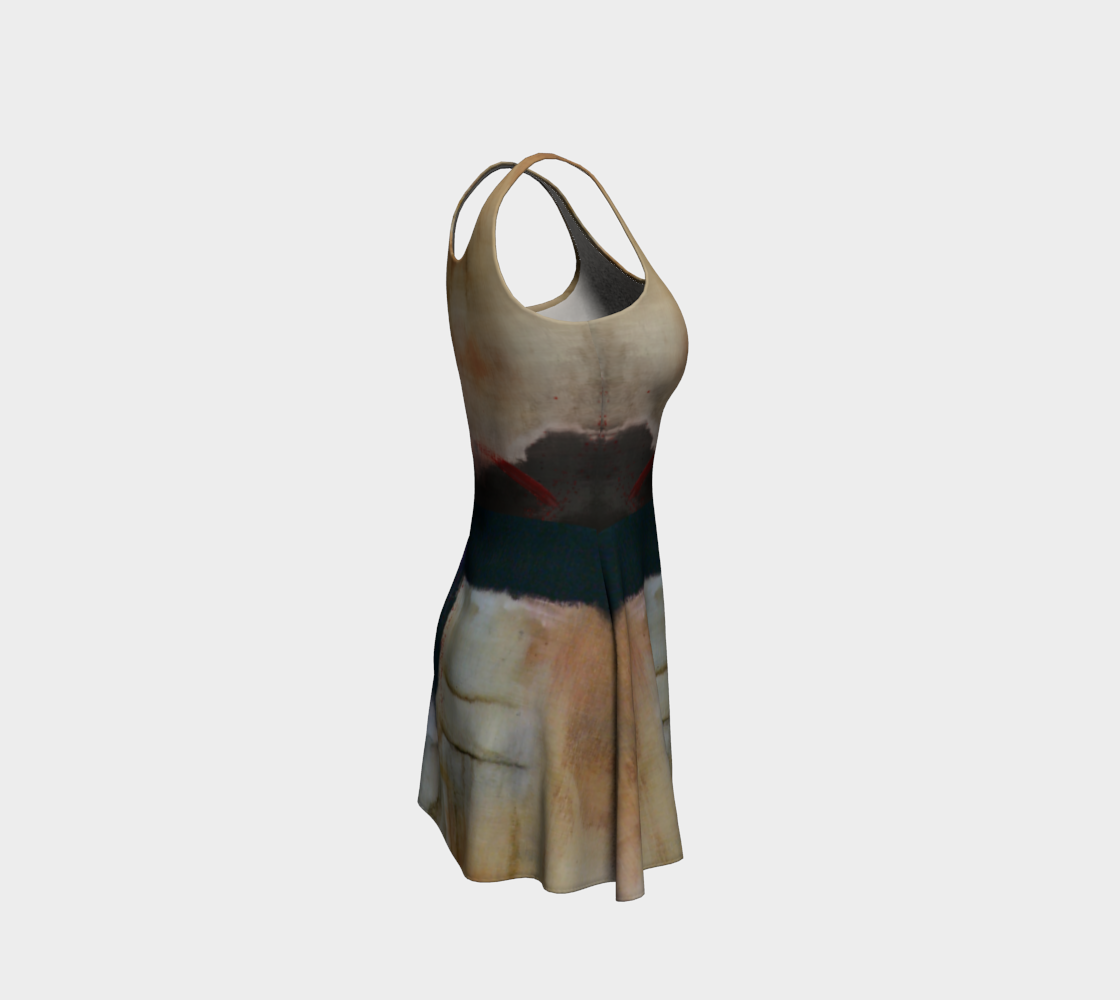 Abstract Earth Tones Flare Skater Dress