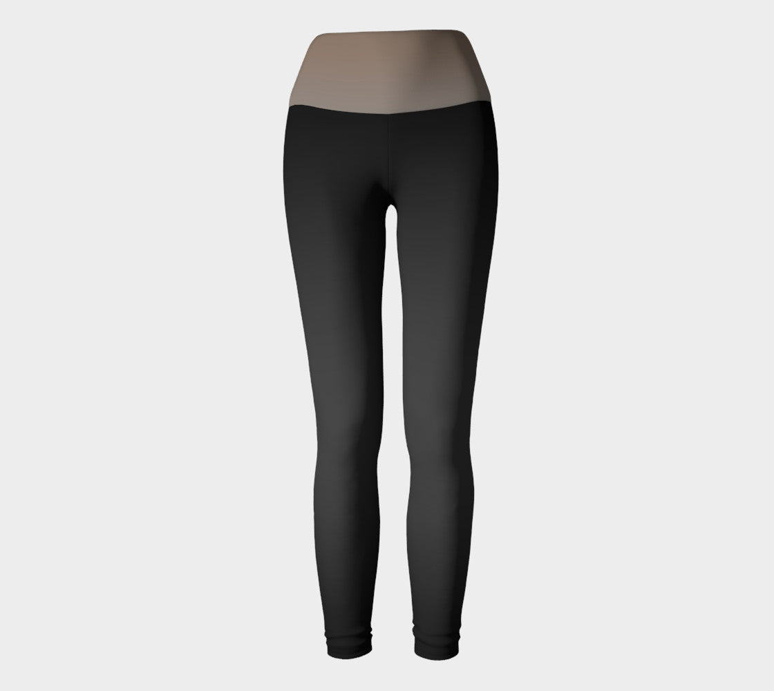 Taupe/black Yoga Leggings
