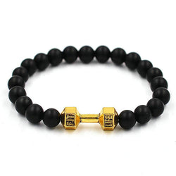 Gold or Silver Dumbbell Beaded Bracelet