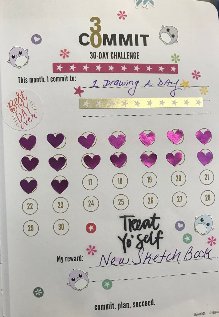 Daily Draw Challenge, Commit30 Planner shared by Earth Wood & Bone Webersart Blog.
