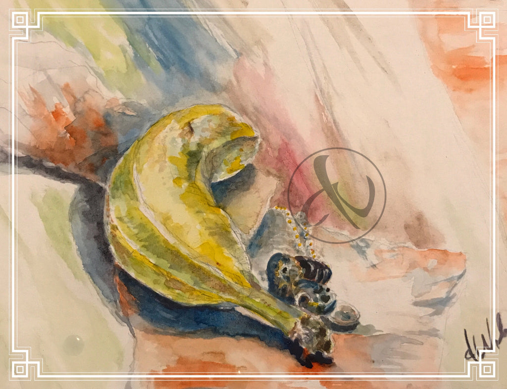 Daily Watercolor, Banana, Weber's Art Studio Blog on Earth Wood & Bone, Food Art, Watercolor Paintings