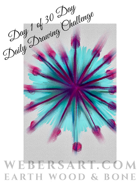 30 day daily drawing challenge by Earth Wood & Bone, Weber's Art Studio, ARt Blog.