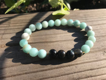 Blue Amazonite & Blue Tiger's Eye Gemstone Bracelet