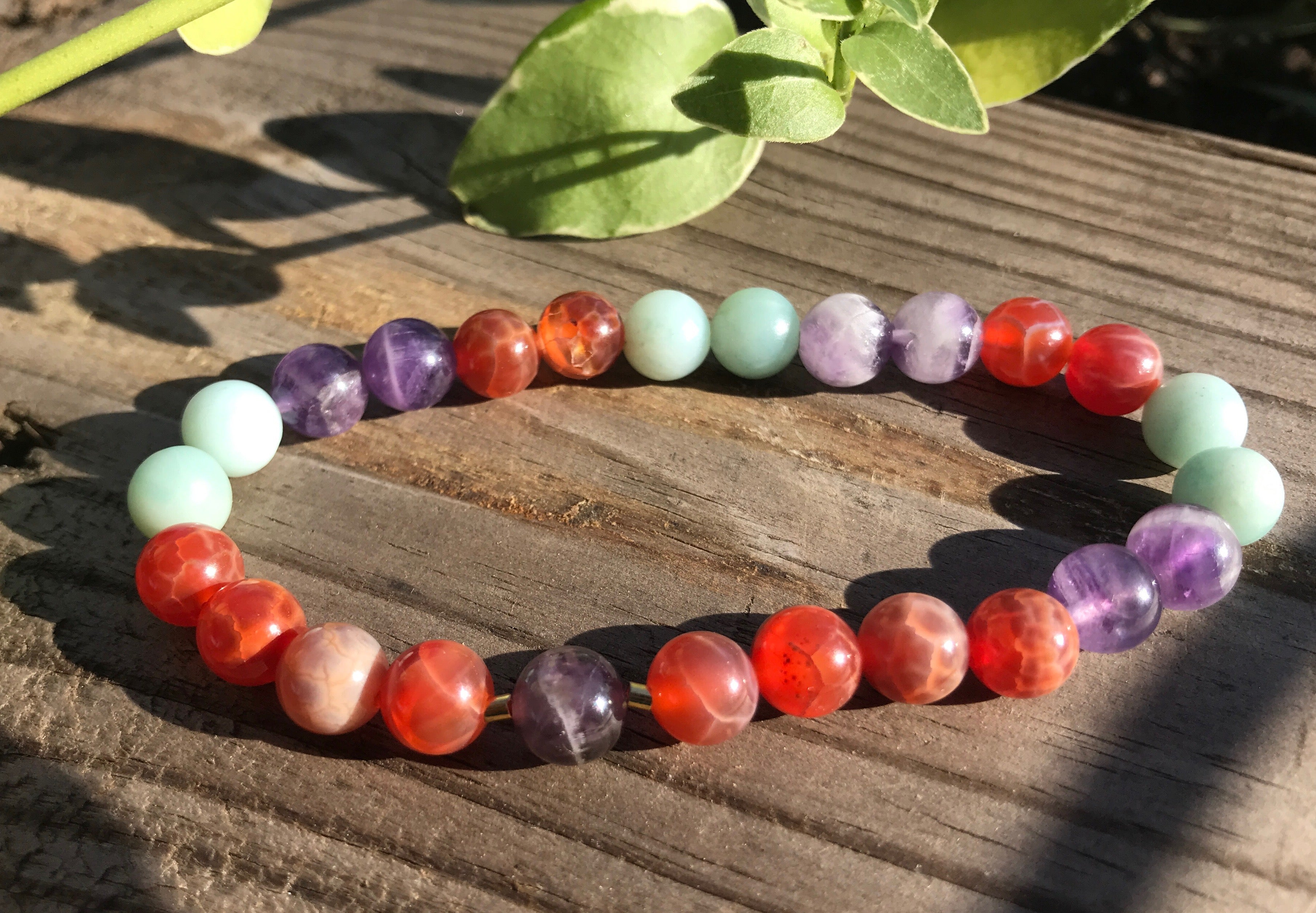 Amethyst natural gemstone bracelets by Earth Wood & Bone