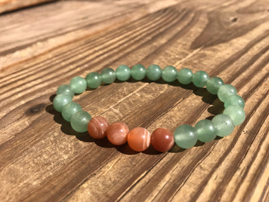 Beautiful Green Aventurine & Multi Colored Moonstone Mala Bracelet.