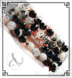Powerful Black Tourmalinated Quartz & Blue Tiger's Eye Gemstone Bracelet