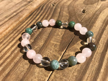 Beautiful Fancy Jasper with Rose & Crystal Quartz Healing Mala Bracelet.