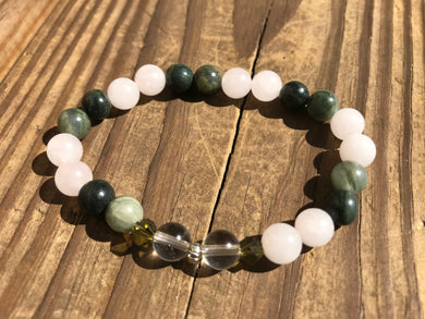 Beautiful Green Line Jasper with Rose & Crystal Quartz Healing Mala Bracelet with Swarovski Crystal.