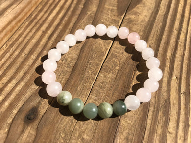 Beautiful Rose Quartz & Fancy Jasper Healing Mala Bracelet.