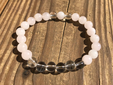 Beautiful Rose Quartz & Crystal Quartz Healing Mala Bracelet.
