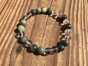Beautiful Green Line Jasper & Crystal Quartz Healing Mala Bracelet.