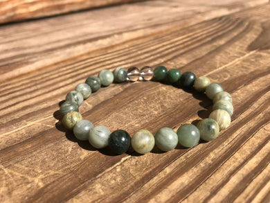 Beautiful Fancy Jasper, Green Line Jasper & Quartz Crystal Healing Mala Bracelet.