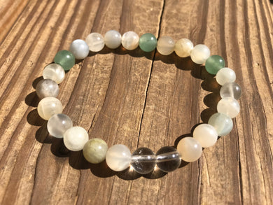 Beautiful Green Aventurine, Multi Moonstone & Quartz Crystal Healing Mala Bracelet.
