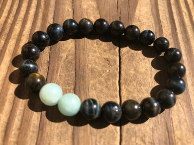 Beautiful Blue Tiger's Eye with Blue Amazonite Healing Mala Bracelet.