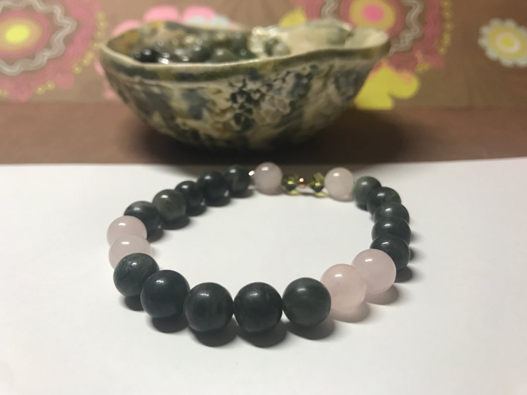 Beautiful Green Line Jasper & Rose Quartz Healing Mala Bracelet with Swarovski Crystal.