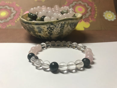 Beautiful Rose Quartz, Crystal Quartz & Green Line Jasper Healing Gemstone Bracelet.