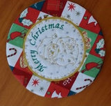 P144-ITH Santa Table Mat and mug rug  Combo