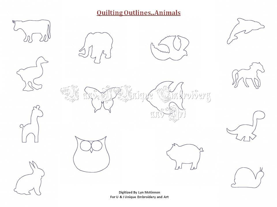 UIU092-Quilting Outlines....Animals