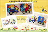 S102-Applique Milk and Bread Trucks 5 x 7 inch Hoop