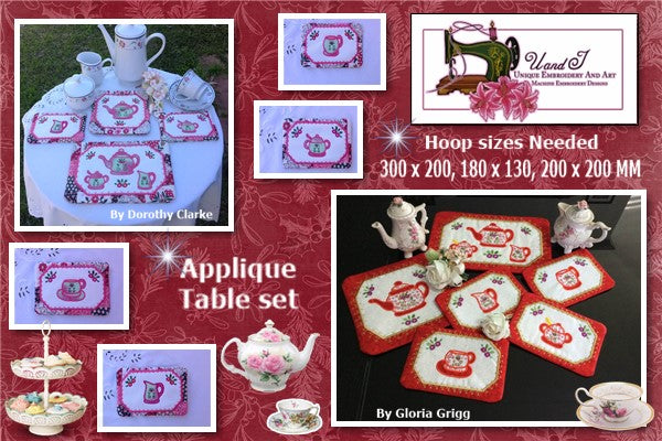 UIU128-Applique Tea set