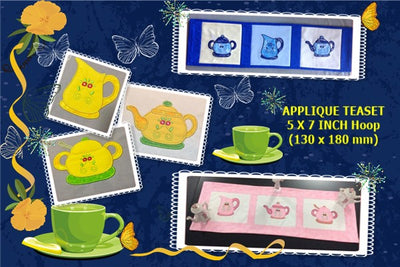 UIU142-Applique Teapot jug and sugar bowl