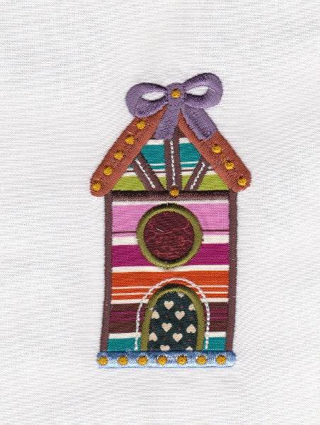 S038-Applique Birdhouse two for the 5 x 7 inch Hoop