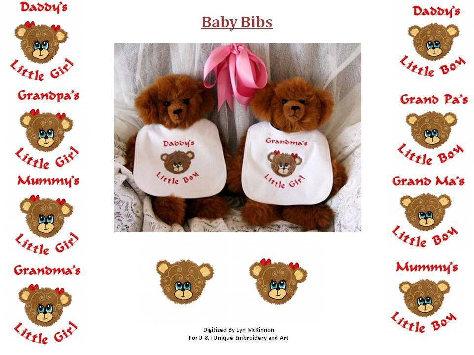 UIU078-Teddy faces for Baby Bibs
