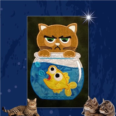 S120-Applique Cat in a fishbowl
