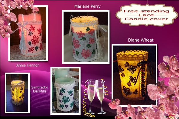 P115_Free Standing Lace Candle cover