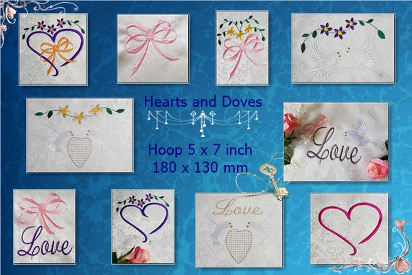 UIU135-Wedding or Valentines Day..Hearts and Doves
