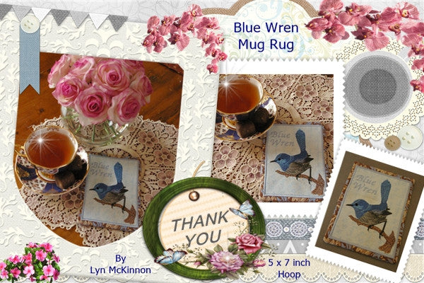 P084-In the Hoop Blue wren Mug rug for the 5 x 7 inch hoop