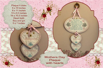 P194-In the hoop Mothers day plaque and hearts  4 sizes