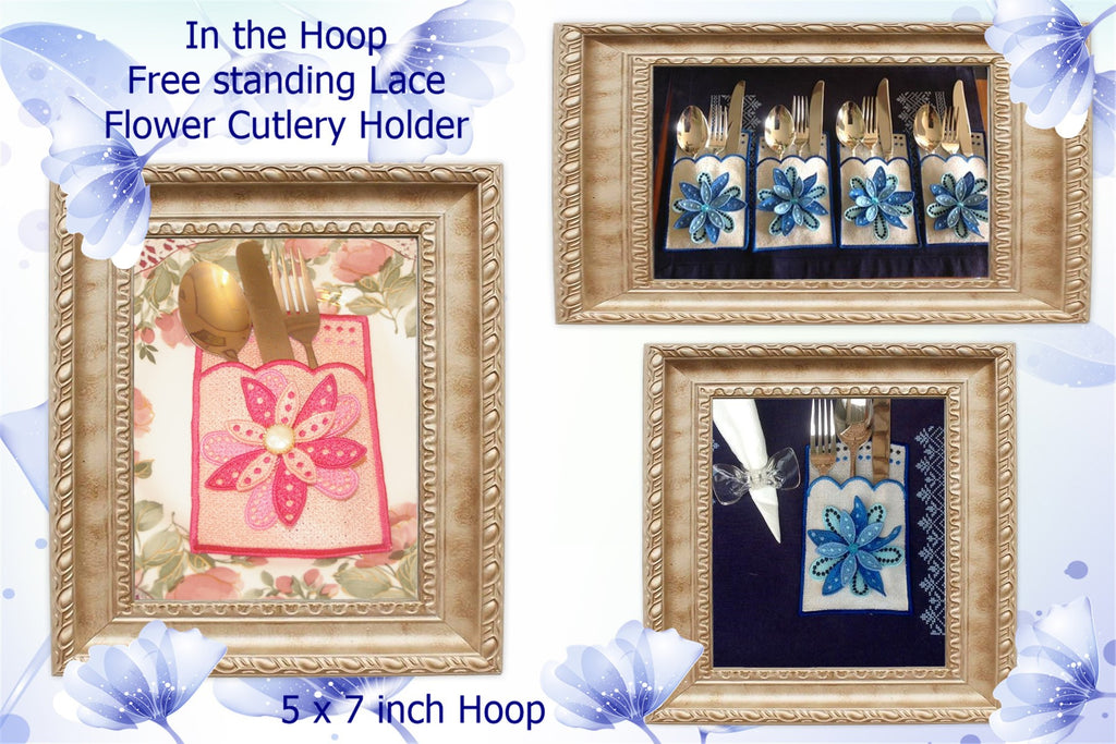 UIU124-In the Hoop, free standing lace flower Cutlery Holder