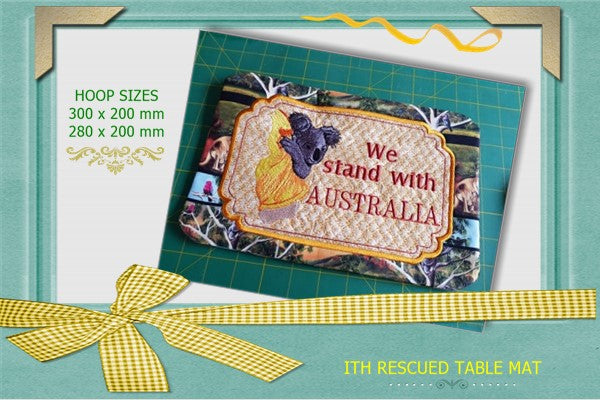 UIU140A-In The Hoop Rescued Table mat SIZE 280 x 200mm