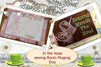 P056-In the hoop Sewing room Mug rug Duo