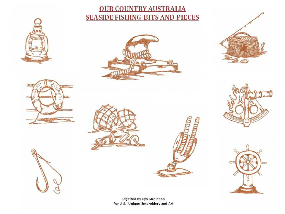 UIU104-OUR COUNTRY AUSTRALIA....SEASIDE FISHING BITS AND PIECES 5 X 7 INCH HOOP