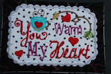 P083-In the hoop You warm my heart Valentines Day Mug rug