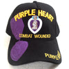Purple Heart Hat Combat Wounded Military Veteran Black Adjustable Cap-Cyberteez