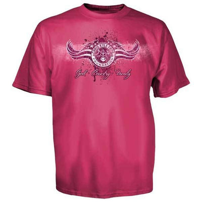 d97cec5f Chris Kyle Frog Foundation God Country Family PINK Women's T-Shirt