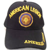 American Legion Insignia Seal Logo Hat Black Adjustable Cap-Cyberteez