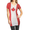Canada Canadian Flag Women's Beach Bikini Cover Up Burnout Fabric T-Shirt-Cyberteez