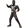 Agent Venom Costume Boys Kids Child Deluxe Muscle Chest Jumpsuit w/ Belt-Cyberteez