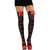 Skull & Crossbones Women's Thigh High Leggings Stockings w/ Bow (Black/Red)