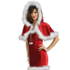 Santa Claus Capelet Women's Faux Fur Trimmed Hooded Christmas Cape Shawl Cover-Cyberteez
