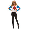 Supergirl Logo LONGSLEEVE w/ Cape V-Neck Womens Girls T-Shirt-Cyberteez