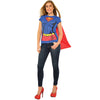 Supergirl Superhero Superman Women's Costume T-Shirt w/ Cape-Cyberteez